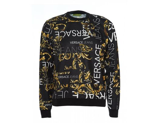 79fb2e6d Versace Jeans All Over Baroque Black Gold Sweatshirt in Black for ...