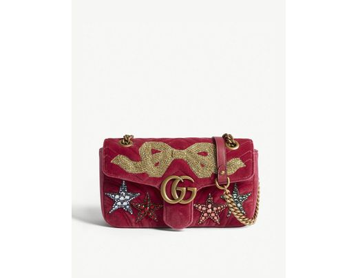 faefd27eccf Lyst - Gucci Women s Raspberry Pink GG Marmont Embellished Velvet Shoulder  Bag in Pink