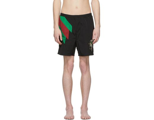 76e658748a30b Gucci Web Striped And Tiger Head Swimshorts in Black for Men - Lyst