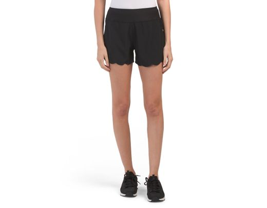 9335b59a58489 Tj Maxx Stretch Woven Scalloped Shorts With Brief Liner in Black - Lyst