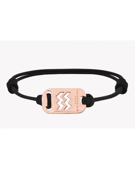 Tateossian | Pink Zodiac 18k Rose Gold Aquarius Black Waxed Cord Bracelet for Men | Lyst