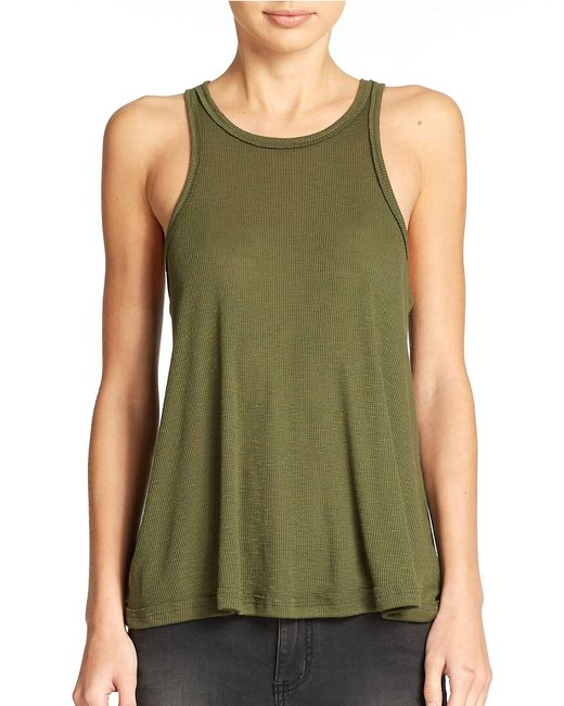 Free People | Green Long Beach Ribbed Tank Top | Lyst