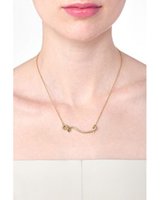 Ileana Makri | 18kt Yellow Gold Flying Snake Necklace With Diamonds | Lyst