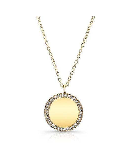 Anne Sisteron | 14kt Yellow Gold Diamond Rimmed Disc Necklace | Lyst