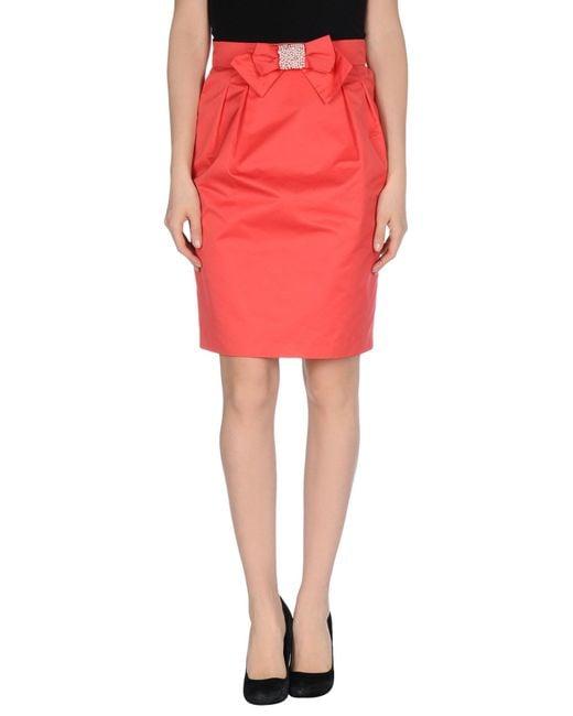 blugirl blumarine pink knee length skirt lyst