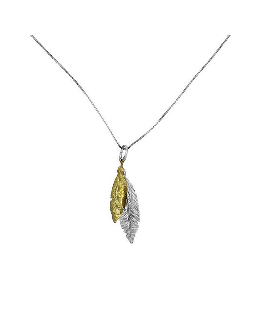Azendi | Metallic Gold Vermeil Twin Feather Pendant | Lyst
