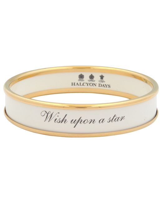 Halcyon Days | White Wish Upon A Star Gold Plated Enamel Bangle | Lyst