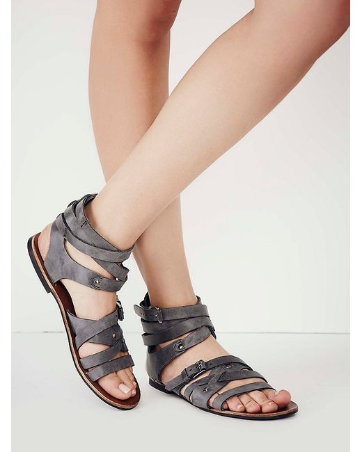 Free People | Gray Durango Metal Gladiator Sandals | Lyst