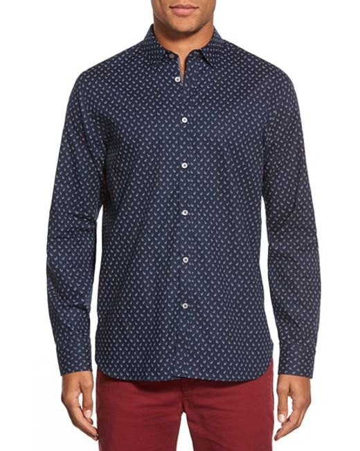 Ted Baker | Blue 'autumn Paisley' Modern Slim Fit Sport Shirt for Men | Lyst
