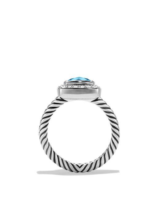 David Yurman | Petite Albion Ring With Blue Topaz & Diamonds | Lyst