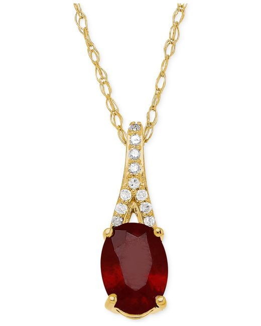 Macy's | Metallic Ruby (1-1/10 Ct. T.w.) And Diamond Accent Pendant Necklace In 10k Gold | Lyst