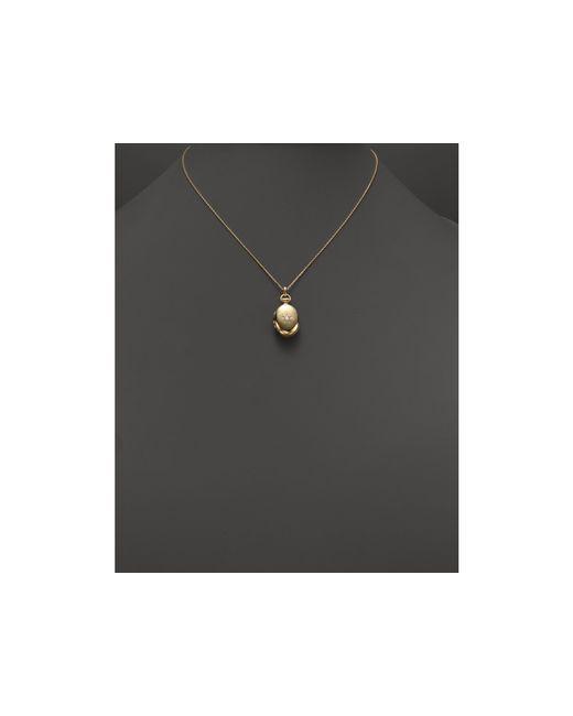 "Monica Rich Kosann | Metallic 18k Gold & Diamond Petite Oval Locket Necklace, 17"" | Lyst"