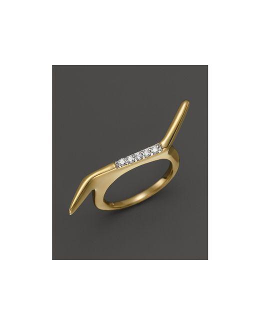 Kara Ross | Metallic 18k Yellow Gold Pangea Double Finger Stacking Ring With Diamonds | Lyst
