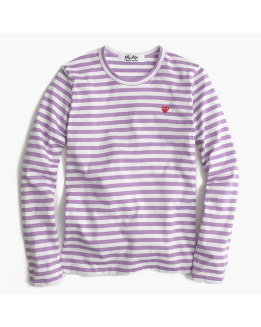 Comme des gar ons striped heart t shirt in purple for Purple and black striped t shirt
