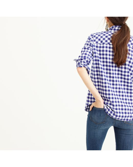 J.Crew | Blue Collection Thomas Mason Top In Embellished Gingham | Lyst