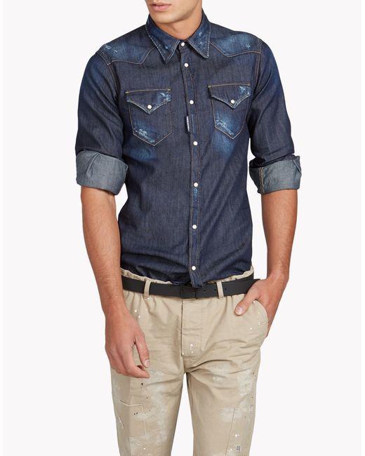 DSquared² | Blue Western Shirt for Men | Lyst