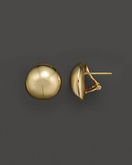 Roberto Coin | Metallic 18k Yellow Gold Round Button Earrings | Lyst