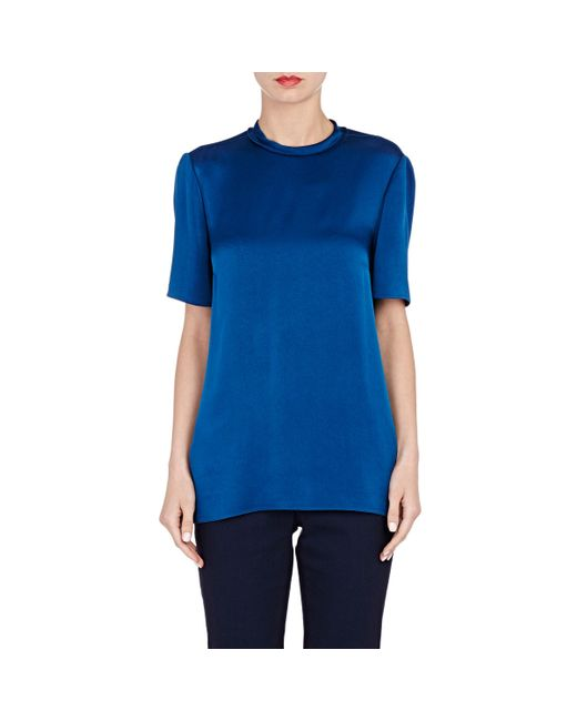 Womens Blue Short Sleeve Blouse 93