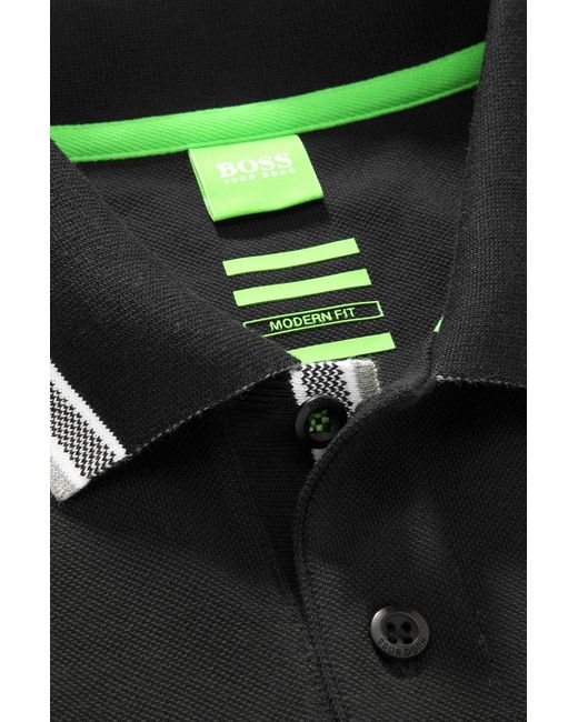 BOSS Green | Black 'paddy' | Modern Fit, Cotton Polo Shirt for Men | Lyst