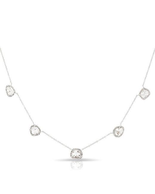 Anne Sisteron | Metallic 14kt White Gold 5 Diamond Slice Necklace | Lyst