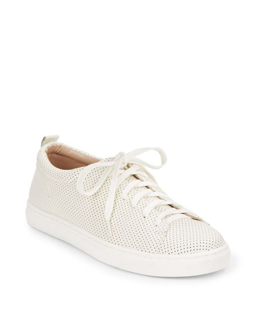 Dolce Vita | White Oriel Perforated Leather Sneakers | Lyst