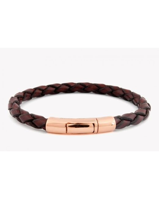 Tateossian | Single Wrap Scoubidou Brown Leather Bracelet With 18k Rose Gold Clasp for Men | Lyst