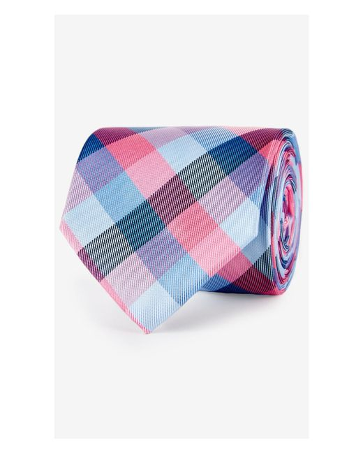 Express | Pink Checked Narrow Silk Tie for Men | Lyst