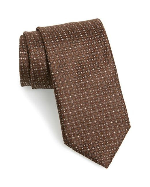 Canali | Brown Dot Silk Tie for Men | Lyst