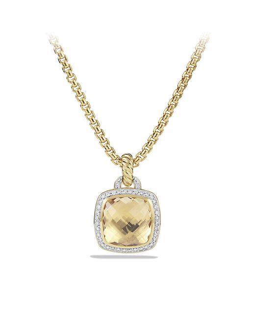 David Yurman | Metallic Albion Pendant With Champagne Citrine And Diamonds In 18k Gold, 14mm | Lyst