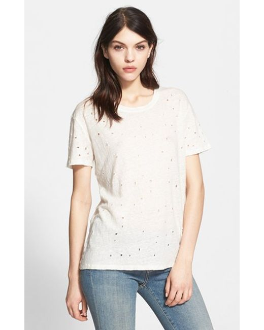 IRO | Brown 'clay' Punctured Linen Tee | Lyst