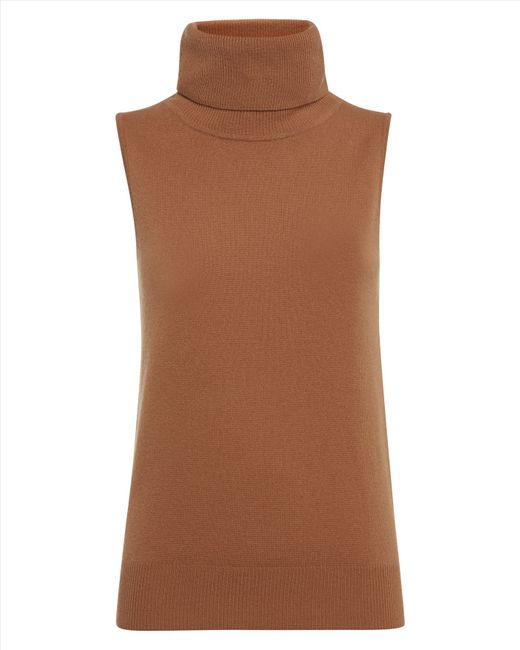 Jaeger cashmere roll neck sweater in brown camel lyst
