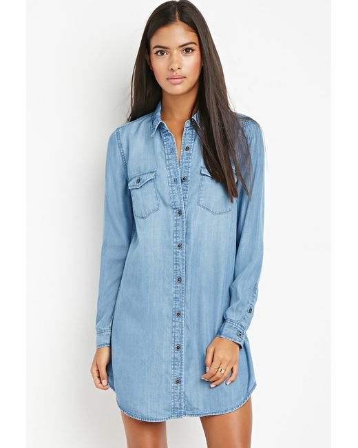 Forever 21 | Blue Contemporary Shirt Dress | Lyst