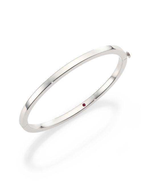 Roberto Coin | Metallic 18k White Gold Oval Bangle Bracelet | Lyst