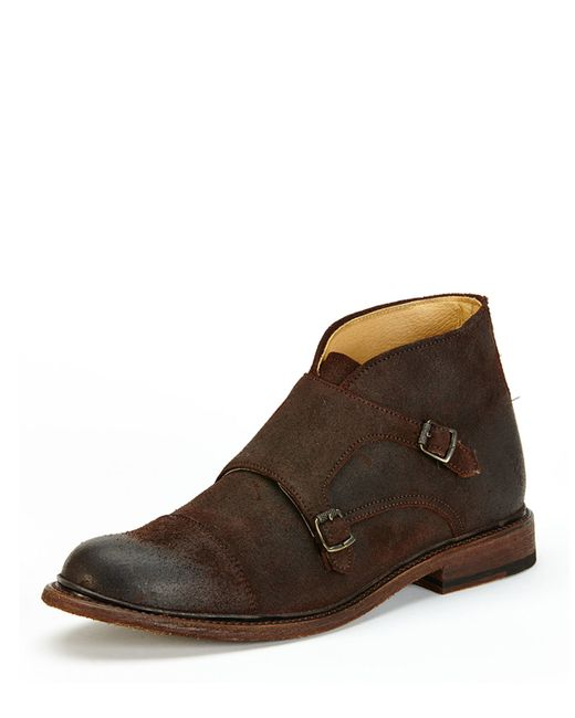 Frye Men's Jack Monk-strap Suede Chukka Boot In Brown For