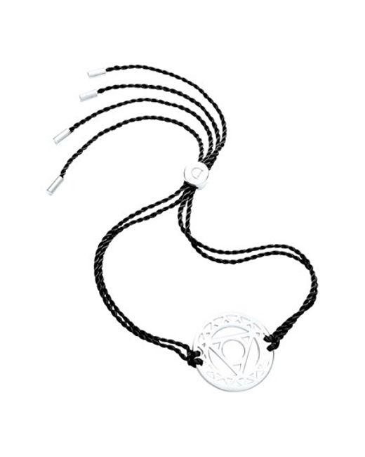 Daisy London | Metallic 'throat Chakra' Cord Bracelet - 925 Sterling Silver/black | Lyst
