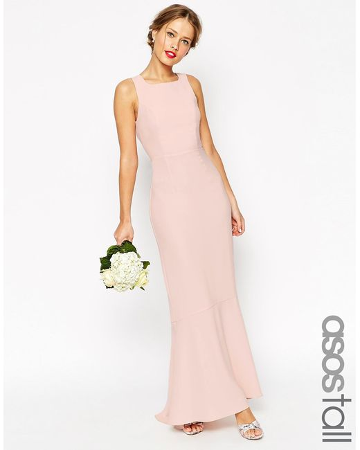 ASOS | Pink Wedding Maxi Dress With Fishtail - Nude | Lyst