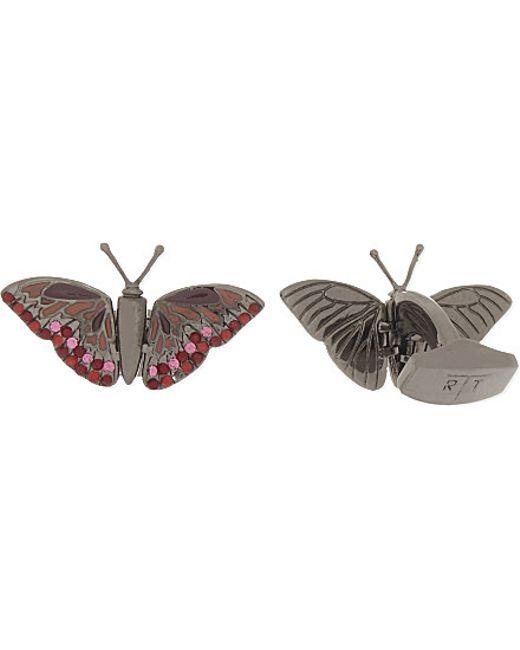 Tateossian | Mechanimals Butterfly Crystal Cufflinks, Men's, Red Pink for Men | Lyst