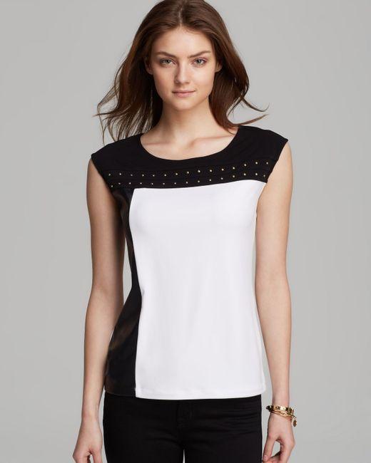 Calvin Klein | White Long-sleeve Leopard-trim Blouse | Lyst