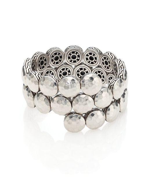 John Hardy   Metallic Dot Sterling Silver Disc Double Coil Bracelet   Lyst