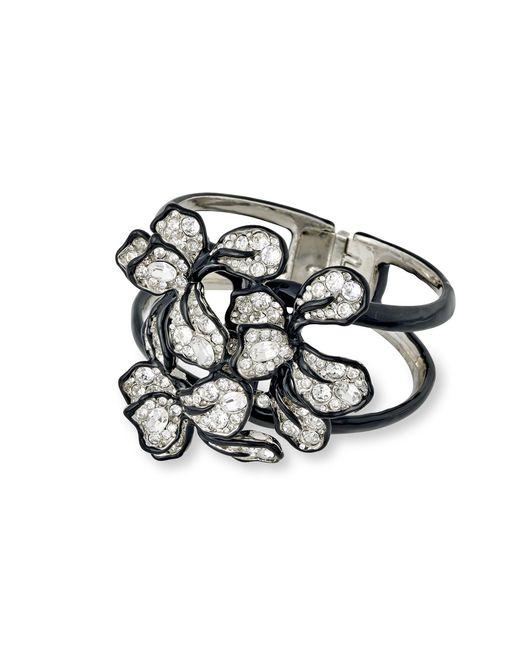 Kenneth Jay Lane | Metallic Crystal Flower Cuff | Lyst