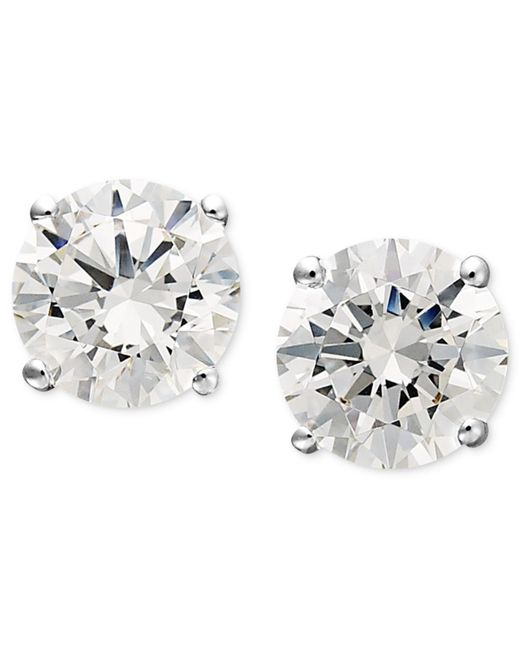 Arabella | Metallic 14k White Gold Earrings, Swarovski Zirconia Round Stud Earrings (1-3/4 Ct. T.w.) | Lyst