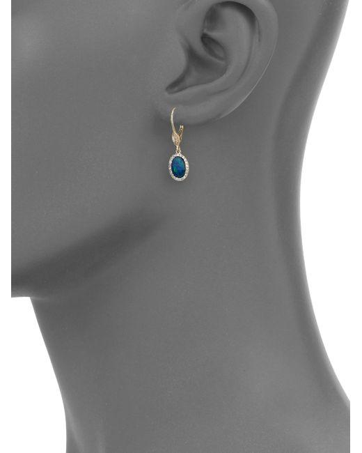 Meira T   Metallic Blue Opal, Diamond & 14k Yellow Gold Drop Earrings   Lyst