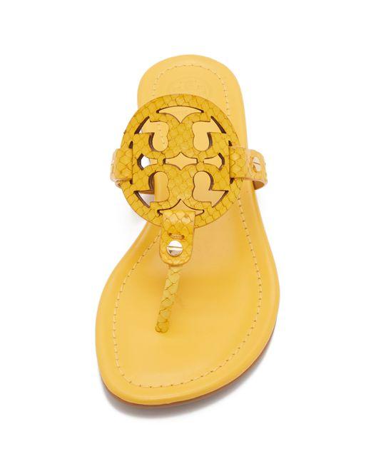 Tory Burch Miller Sandals In Yellow Sour Lemon Lyst