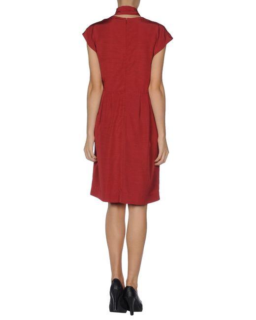 Fendi Short Sleeve V-Neckline Brick Red Dress In Red