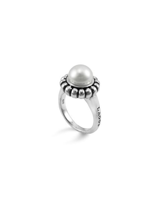 "Lagos | Metallic Sterling Silver And Pearl ""luna"" Ring, Size 7 