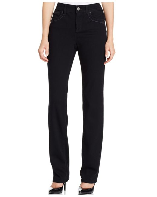 Style & Co. | Petite Tummy-control Black Wash Straight-leg Jeans, Only At Macy's | Lyst