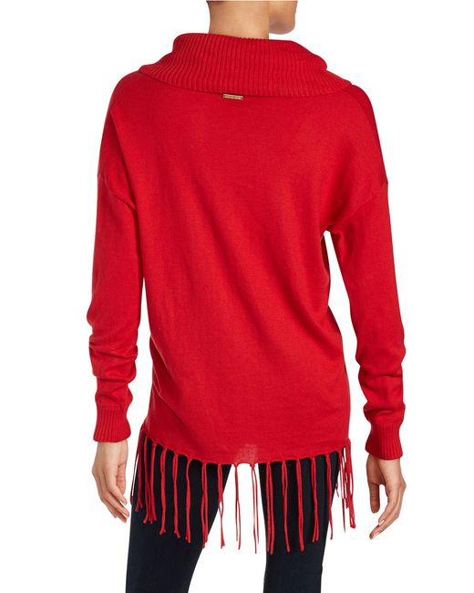 MICHAEL Michael Kors | Red Petite Fringed Cowlneck Sweater | Lyst