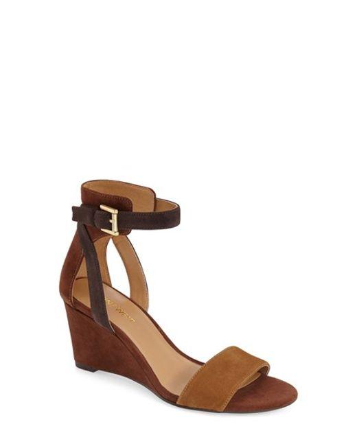 Nine West | Brown Nobody Suede Wedge Sandals  | Lyst