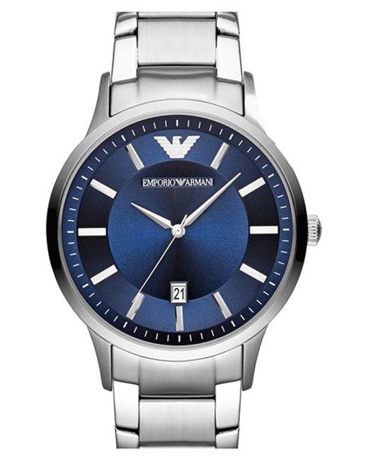 Emporio Armani | Metallic Round Bracelet Watch for Men | Lyst