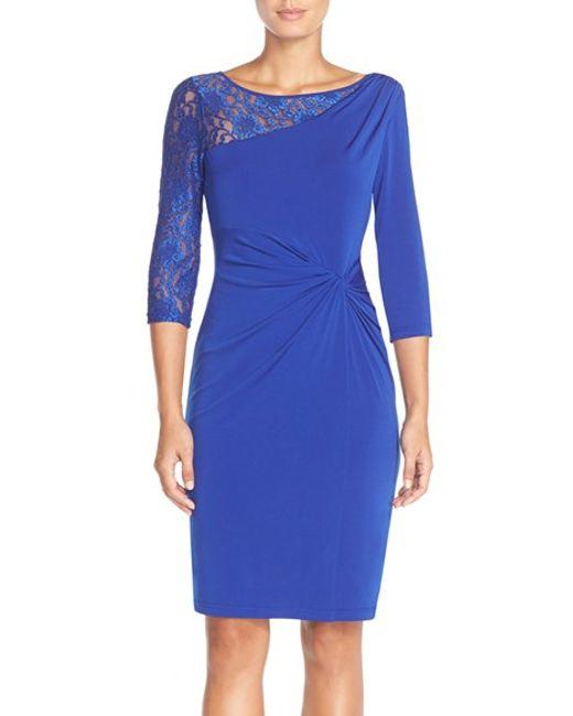 Ellen Tracy | Blue Lace Sleeve Jersey Sheath Dress | Lyst